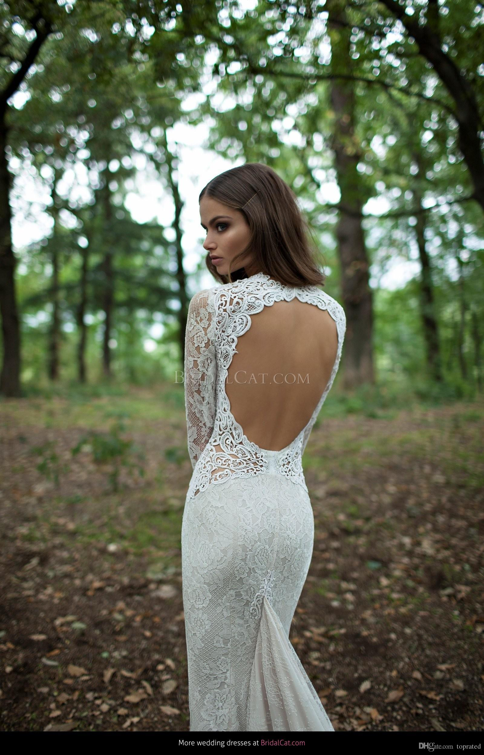 레이스 인어 웨딩 드레스 2019 Berta 긴 소매 백리스 스윕 기차 주름 보헤미안 신부 가운 새로운 컬렉션 사용자 정의