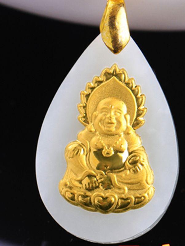 Gold inlaid jade dripping laughing Buddha. Talisman necklace pendant