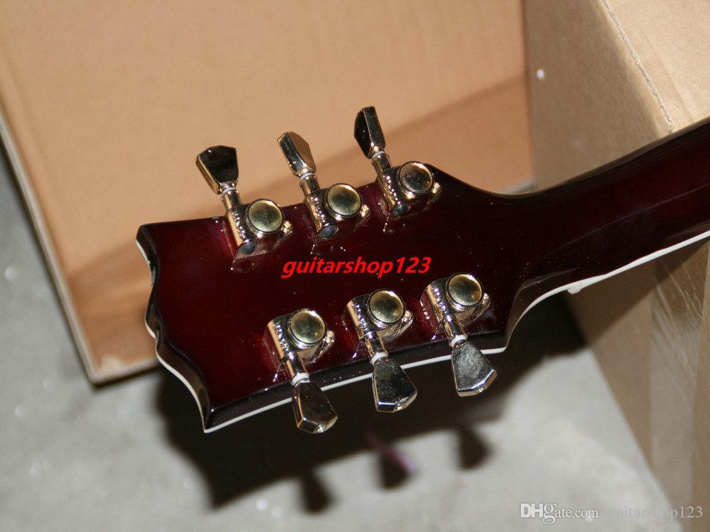 Yüksek Kalite Yeni Alev üst geri Elektrik Gitar Abanoz klavye Maun Toptan Gitar Ücretsiz Kargo