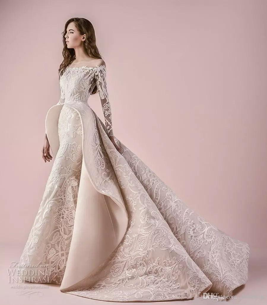 Modern lace wedding dresses 2018 saiid kobeisy sheer for Modern long sleeve wedding dresses