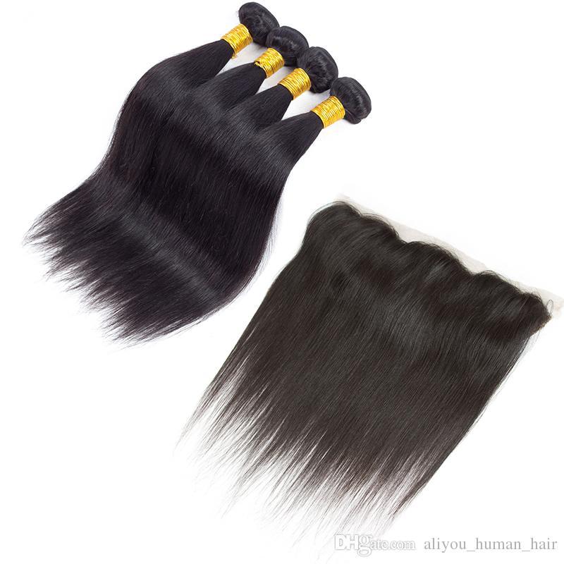 حار بيع بيرو البرازيلي العذراء الشعر مستقيم والجسم موجة الشعر ينسج إغلاق 4 حزم لحمة الشعر البشري مع 13x4 الرباط أمامي إغلاق