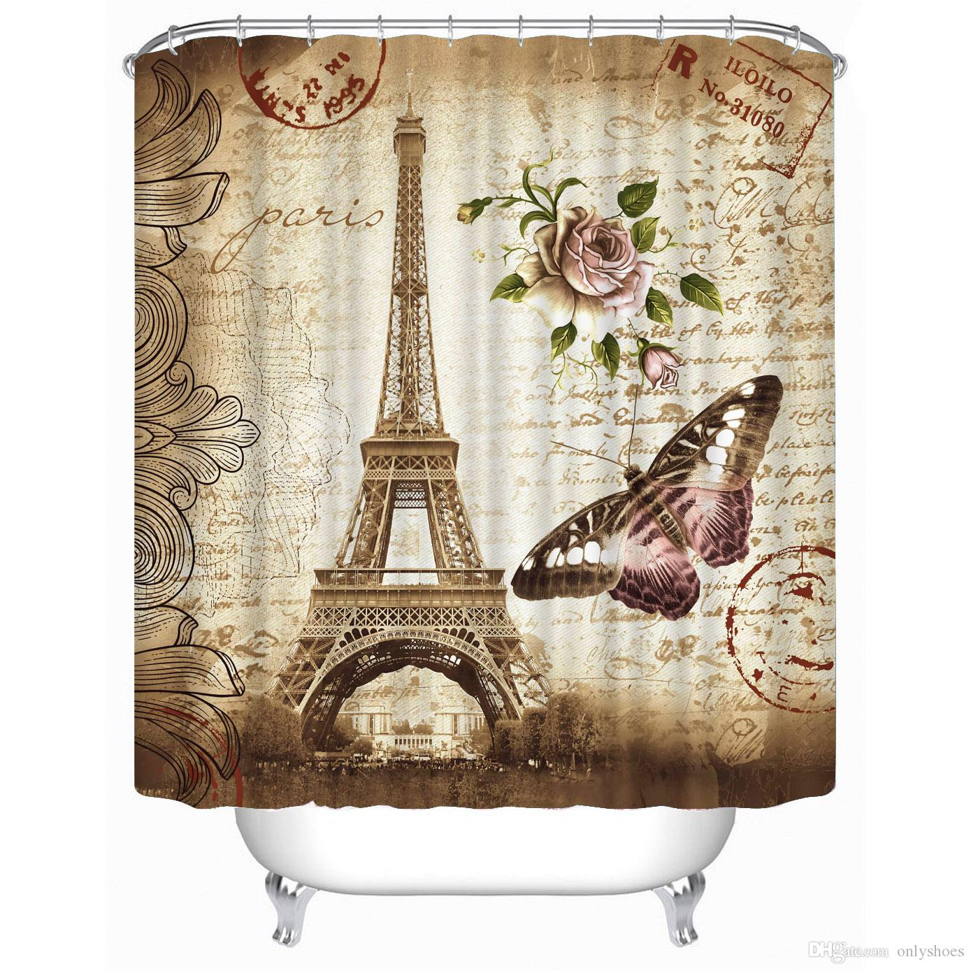 Customs 36 48 60 66 72 80 W X H Inch Shower Curtain Rose Butterfly And Eiffel Waterproof Polyester Fabric Bathroom