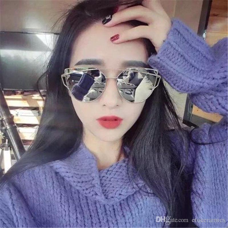 Vrouwen platte lens gespiegelde metalen frame glazen oversized kat oog zonnebril Nieuw