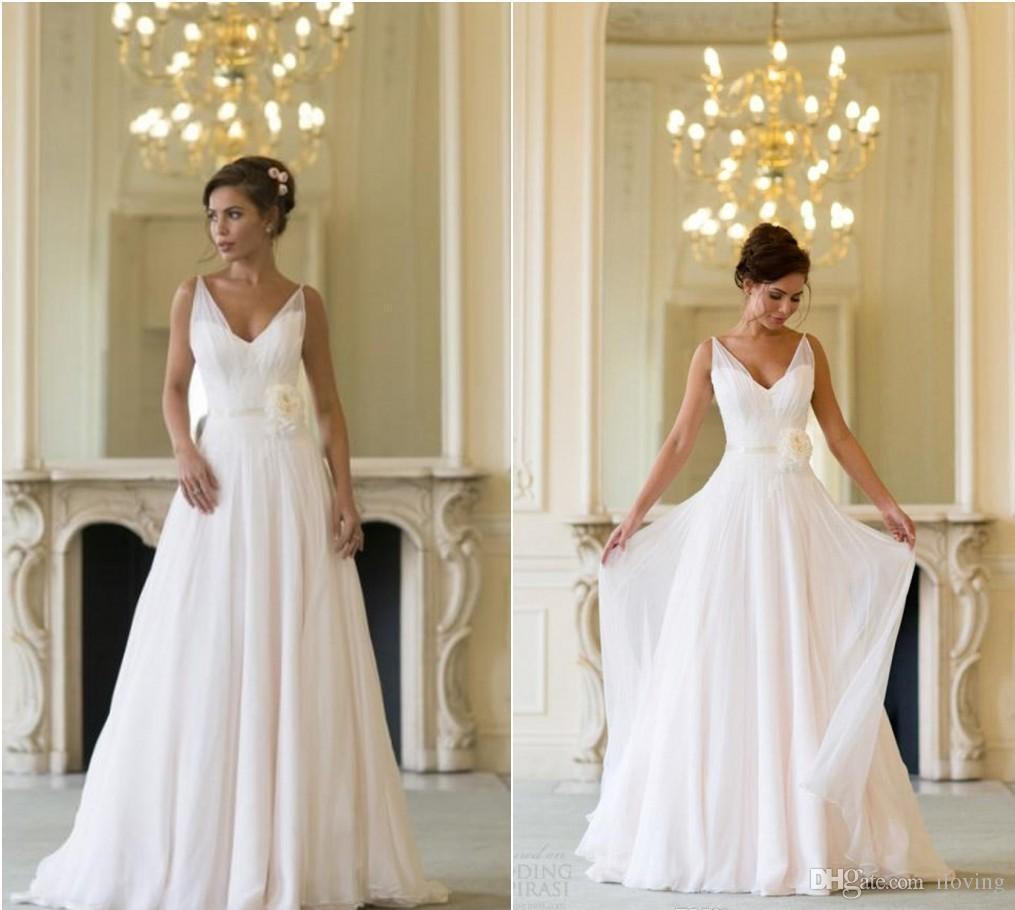discount grecian backless beach wedding dresses v neck flowing vintage boho bridal dress a line. Black Bedroom Furniture Sets. Home Design Ideas