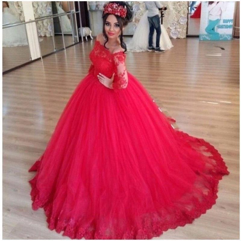 Red Fashion Ball Gowns Wedding Dresses Off the Shoulder Long Sleeve Vintage Lace Arabic Vestido De Novia Court Train Bridal Gowns Custom