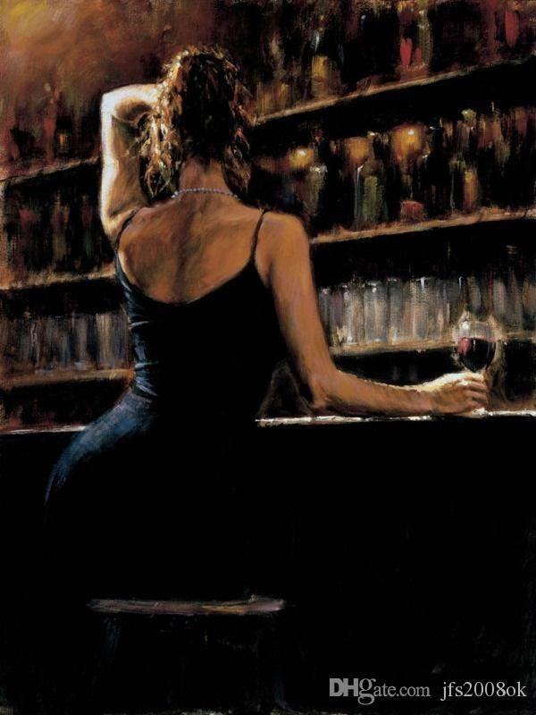 2019 Framed Sexy Woman In Wine Bar Fabian Perez, Genuine High Quality Pure Hand -4377