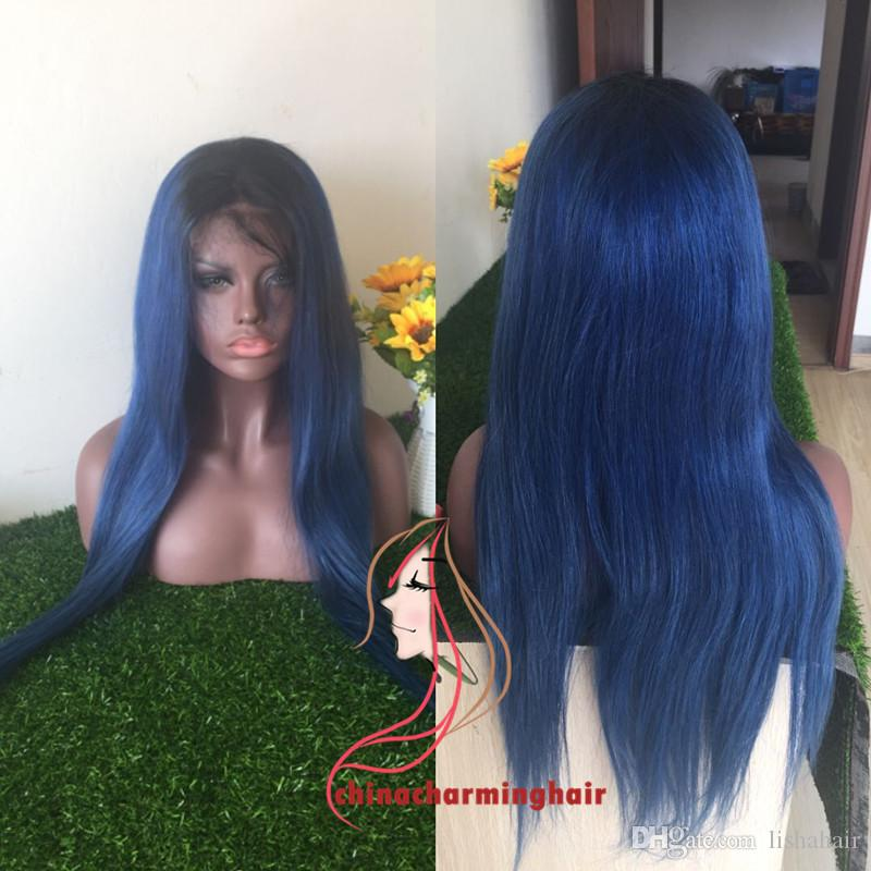 dark roots 1b blue silky straight Vrigin human hair full lace wig and lace front wig ombre blue human hair wig silky straight