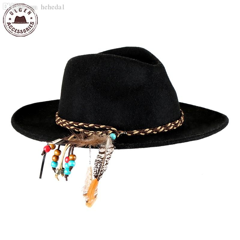 61b92c3a889 2019 Wholesale Ulgen Designed Fashion Vintage Hat With Feather Grey Wool  Fedora Hat Women Wool Felt Hat Men With Cool Headband HUL177g From Heheda1