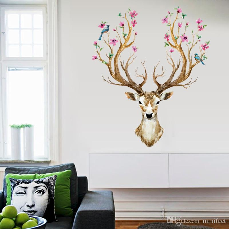 Christmas Elk animals wall stickers sitting room bedroom adornment Creative personality can remove PVC wall mural
