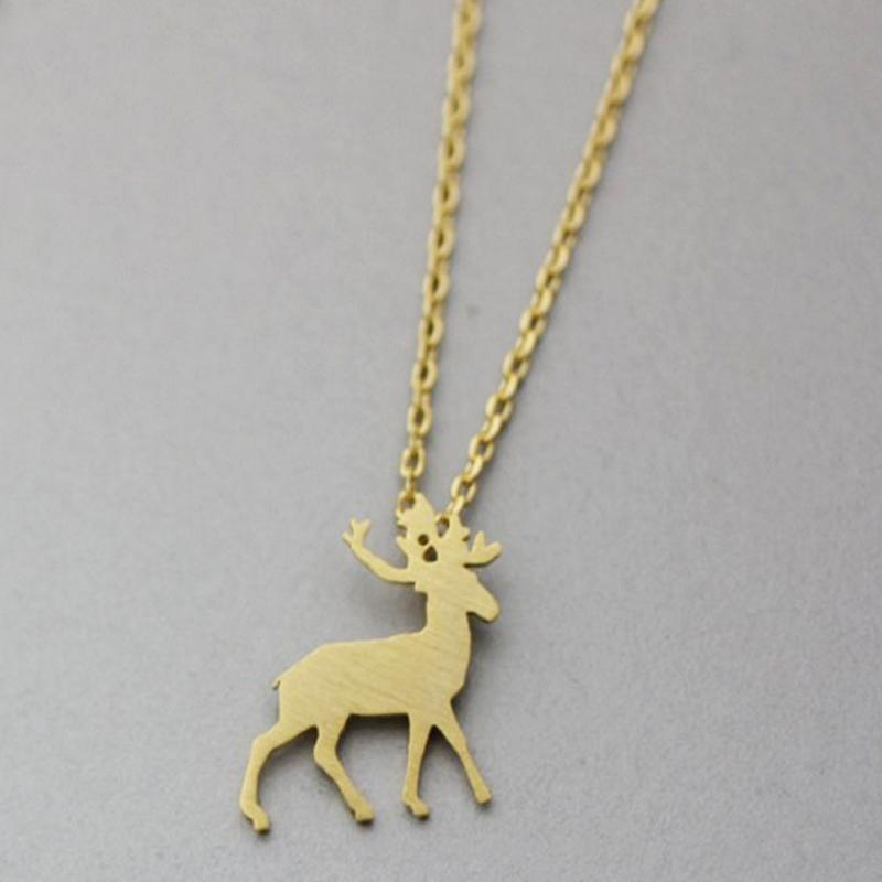 Wholesale christmas gift fashion deer silhouette pendant necklace wholesale christmas gift fashion deer silhouette pendant necklace kids simple chain silver gold plated animal pendants necklaces silver necklace silver aloadofball Image collections