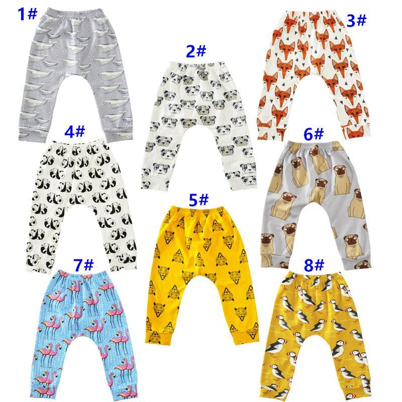 2017 Autunno Baby Boys Girls Bambini Animal Cartoon Leggings Casual Cartoon Animal Pants Colorful Fox Panda Tiger infant pantaloni lunghi pantaloni PP
