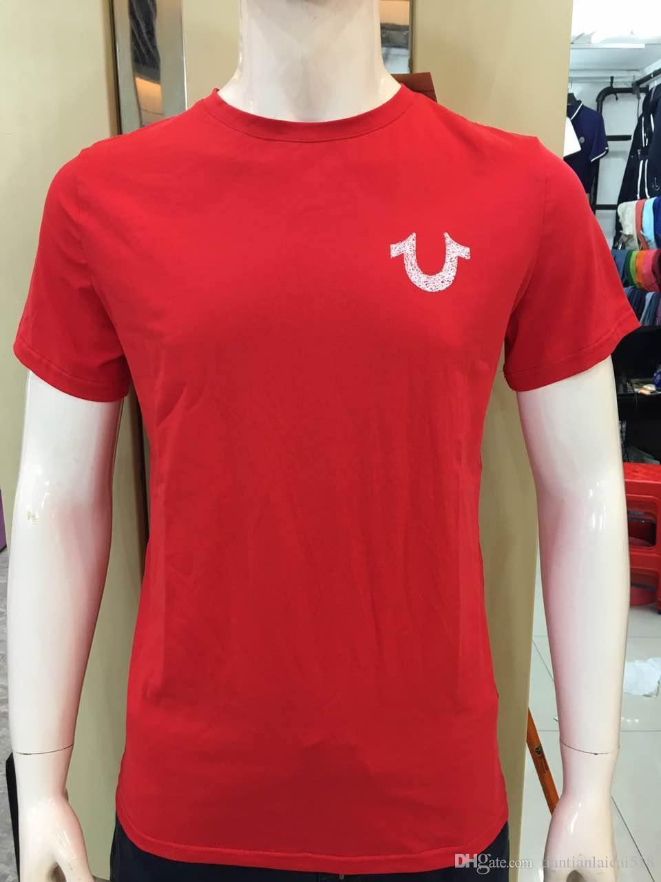 NUEVA alta calidad EE. UU. Rojo Negro Blanco Hombres Robin True Jeans Crew polo con alas Real American Jeans Club Slim abrigo camiseta
