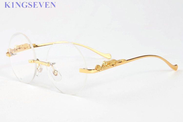 2017 leopar altın gümüş metal çerçeve yuvarlak şeffaf lens güneş gözlüğü kadın erkek çerçevesiz ahşap bambu güneş gözlüğü buffalo horn için gözlük
