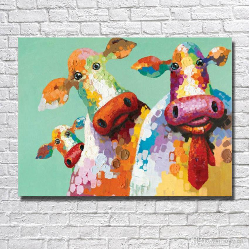 canvas animal cow oil painting funny animal wall pictures no framed painting for living room wall