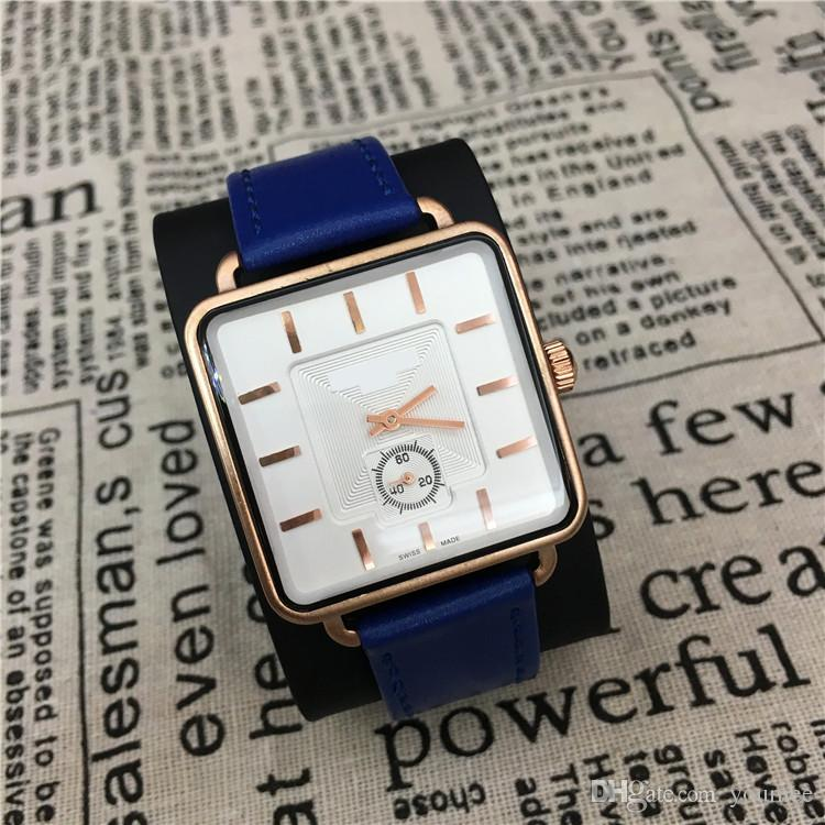 Famous Brand Man Watches Genuine Leather Women Wristwatches Square Dial Face Relojes De Marca Mujer Colorful Wholesale price H AAA wahtches
