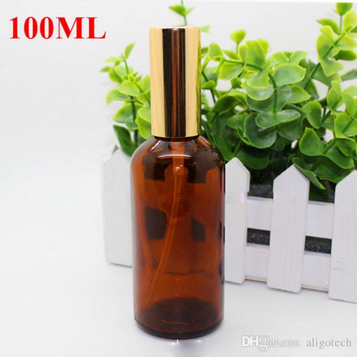 VENDITA CALDA Bottiglie Ambra spruzzatore 30ml 50ml 100ml con Black Gold spruzzatore pompa atomizzatore profumo estetica essenziale Olio Make Up Bellezza