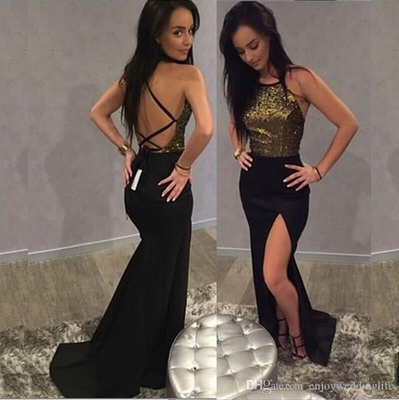 d2b9c49314 Sexy Black Gold Sequined Sparkle Prom Dresses 2018 New Arrival Side Split Evening  Dresses Backless Cheap Special Occasion Wear Online with  152.63 Piece on  ...