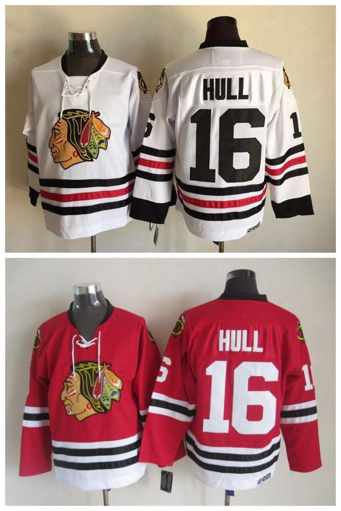 6e2ce2d52 Men Chicago Blackhawks Ice Hockey Jerseys Cheap 16 Bobby Hull Retro Vintage  CCM Authentic Stitched Jerseys ! From Qqq8