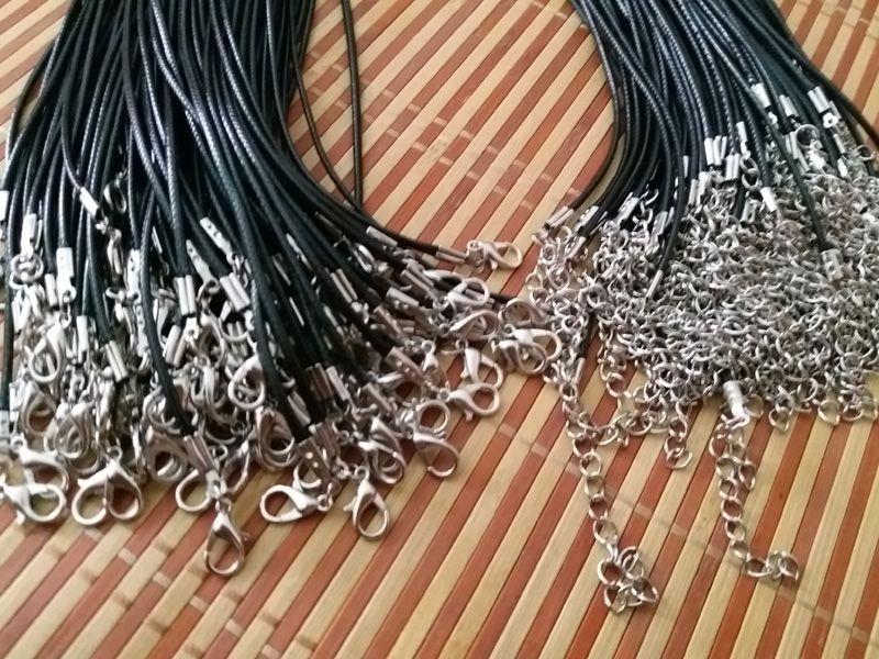 gioielli fai da te accessori di montaggio Nero cavo della collana cera Roper 1,5 / 2 mm gioielli Fai da te 18 ''