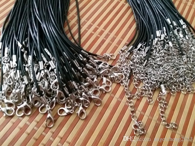 Jóias DIY Acessórios fitting preto 1,5 / 2 milímetros cabo de jóias roper Wax Para DIY Artesanato Jóias 18 ''