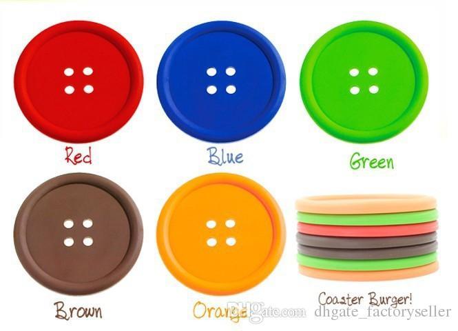 1000 adet Yuvarlak Silikon Bardak Düğme Bardak Kupası Mat Ev İçecek Placemat Sofra Coaster Bardaklar Pedleri 5 Renkler