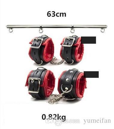 Adult BDSM Games Heavy Duty Portable Detachable Steel Leg Spreader Bar Restraint System With Padded Leather Ankle & Wrist Cuffs Bondage Gear