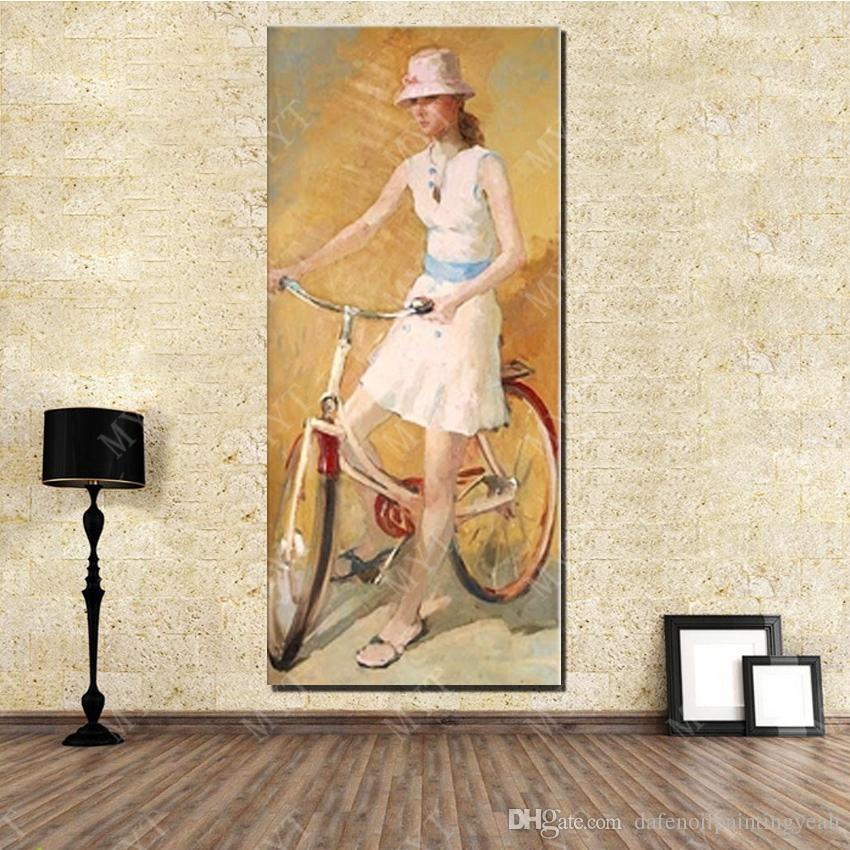 Beautiful Ride Bicycle Girl Home Decor Wall Art Painting Hand made Picture on Wall Abstract Oil Painting on Canvas No Framed