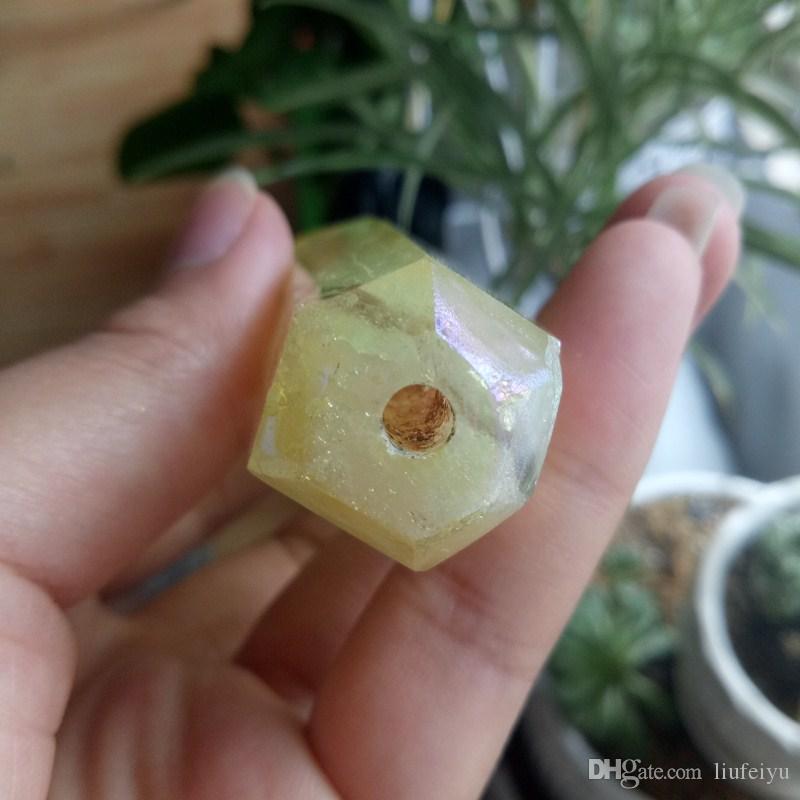 1 pz Spedizione gratuita! il tubo di cristallo giallo naturale è difettoso ma non influisce sull'uso del tubo di angelo giallo al quarzo con angelo