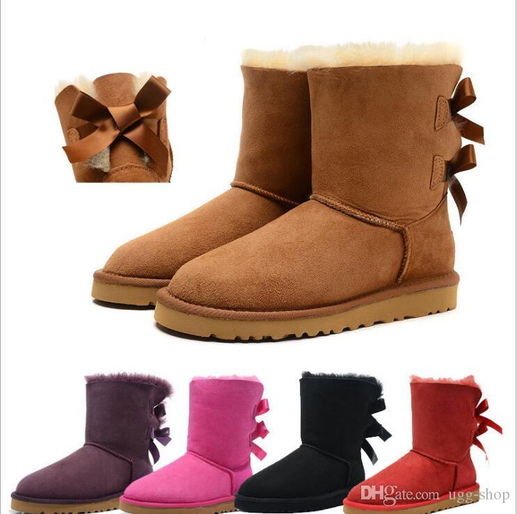 edff8ec1c49 New Australia boot Classic snow Boots High Quality Cheap WGG women winter  boots real leather Bailey Bowknot women s bailey bow snow boots