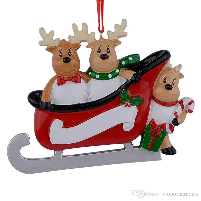 Maxora Resin Reindeer Family Sled Family Of 3 Christmas Ornaments Personalized Gifts Write Own Name For Holiday or Home Decor