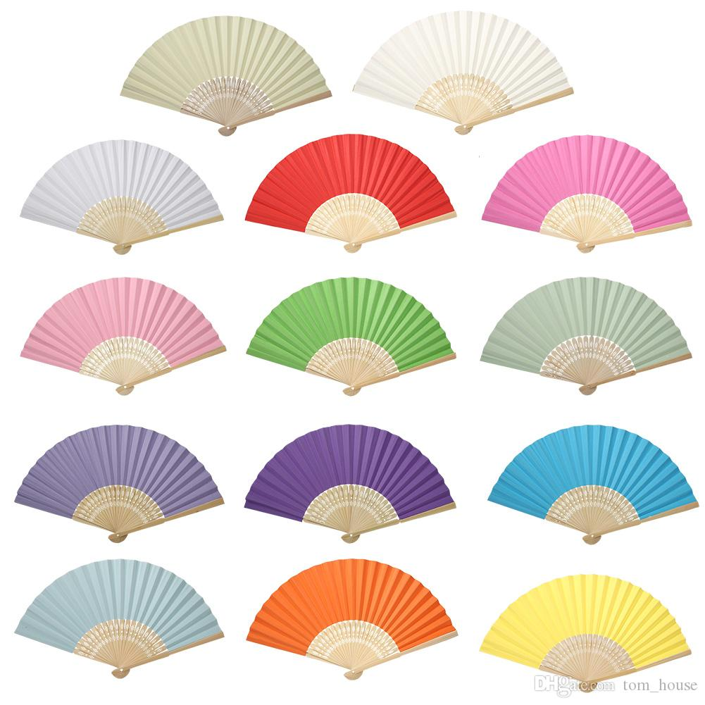 Folding Hand Held Fans Wedding Table Decorations Accessories White ...