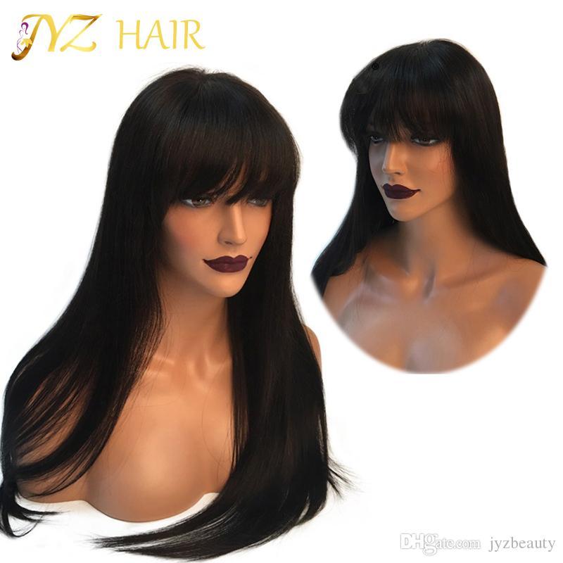 JYZ Full Lace / Front Lace malaisien perruques de cheveux humains avec des cheveux de bébé sans colle Full Lace perruques malaisien vierge soyeux raides cheveux humains