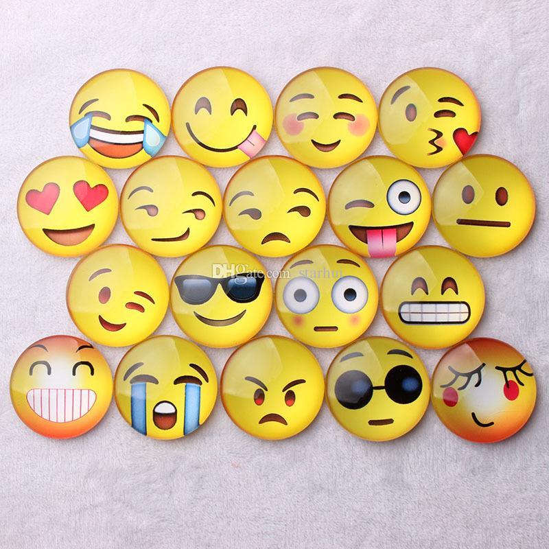 Imán Emoji Glass Dome Redondo Sonrisa Cara Expresiones Nevera Imán Mensaje Titular Refrigerador Pegatina Gratis DHL En Stock WX-C37