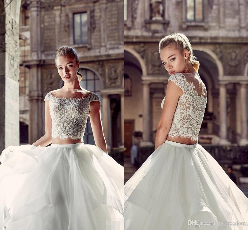 Discount New 2019 Summer Beach Two Pieces Wedding Dresses