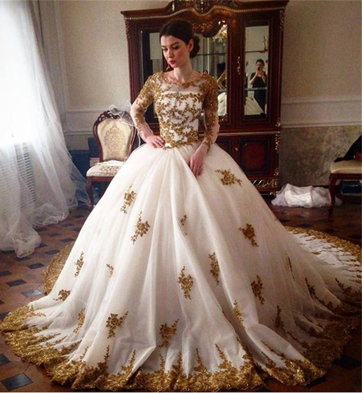 Vintage 2016 Royal Gold Lace Wedding Dresses Plus Size Scoop Neck ...