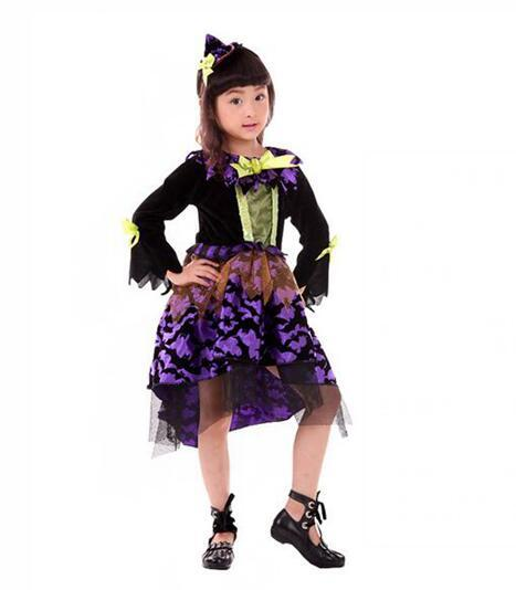 2017 Hot Sale Halloween Witch Dress Children's Magician Role Playing Clothes Cosplay Girl Princess Skirt Magic Witch