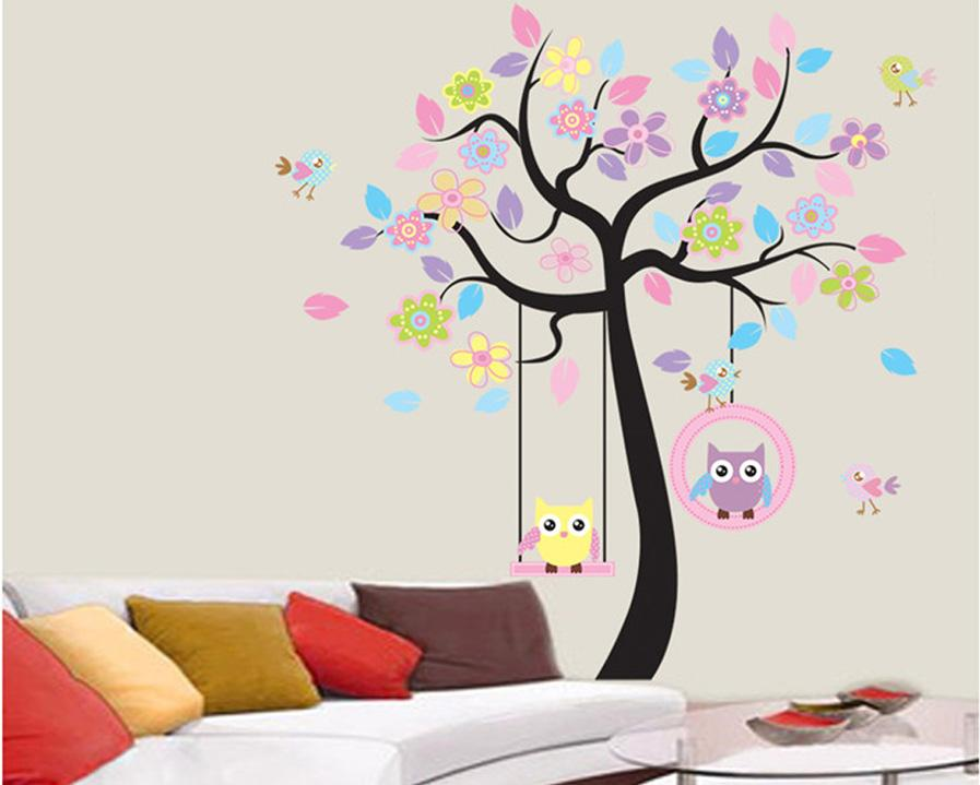 Lovely Cartoon Couple Cute Owl Swing Tree Colorful Removable Wall Stickers DIY Wallpaper Mural Kids Children Room Bedroom