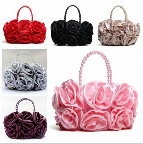 3c1481f0638cd Fashion Women'S Satin Rose Flower Handbag Bag Purse Makeup Sexy Bridal  Wedding Evening Party Clutch Bag Womens Bags Fiorelli Handbags From  Zhy1210486099, ...