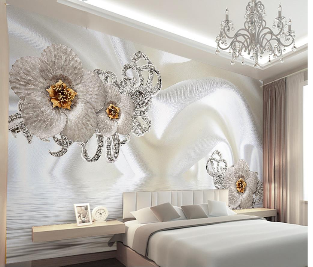 Customize 3d photo 3d silk flowr minimalist modern for 3d interior wall murals