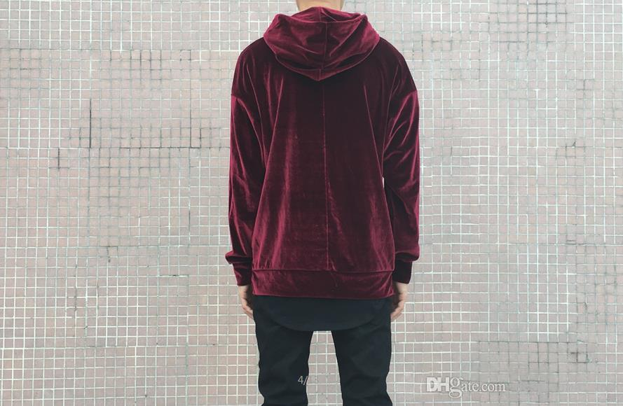 Velour hoodie drop shoulder velvet men hip hop brand streetwear skteboard yeezus kanye west tyga hype oversized hba swag