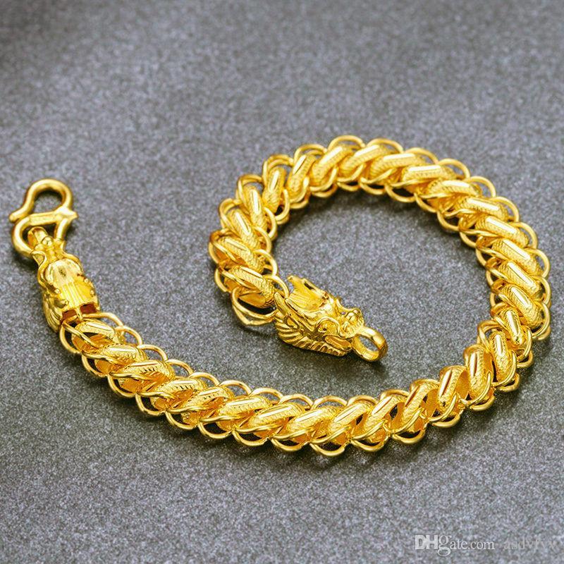 Expensive Gold Bracelet: Valuable Solid 24k Yellow Gold Bracelet/ Dragon Head
