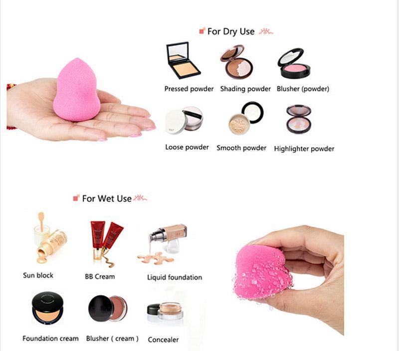 Cosmétique Feuilletée Beauté Poudre Mélange Goutte D'eau Forme Éponge Maquillage Éponge Feuilletée Avec Couleur Aléatoire Bonne Qualité Maquillage Outils