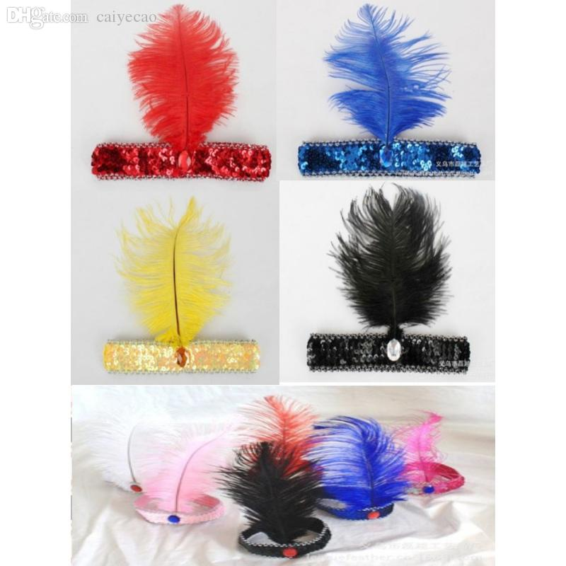Wholesale-Factory Price! Fancy Dress Sequin Head Band Feather Flapper Headdress 1920's Dance Party