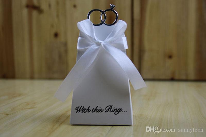 Blue Diamond Ring Bomboniera Bomboniera Scatole regalo di carta nastro Casamento Forniture feste evento ZA4523