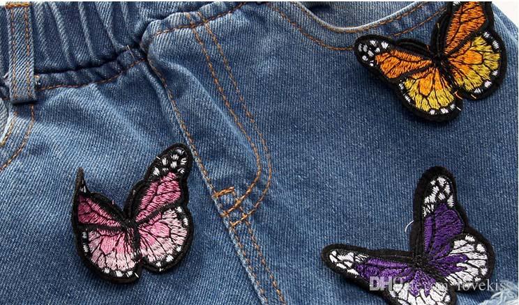 Pantalones vaqueros para niñas Pantalones para niños Pantalones vaqueros desgarrados Vestido de niña coreana Pantalón de mezclilla 2016 Primavera Jeans afilados Ropa para niños Ropa para niños Lovekiss C23328