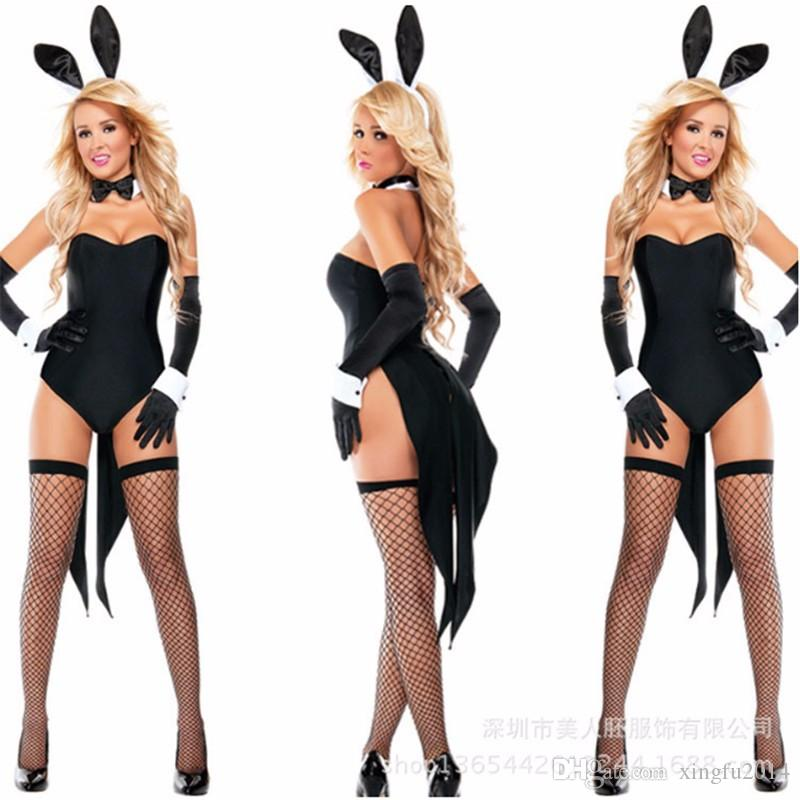 High Quality Sexy Black Bunny Costume Halloween Rabbit Girl Holloween Clothing nightclub rabbit Jumpsuit Rabbit Cosplay Bodysuit