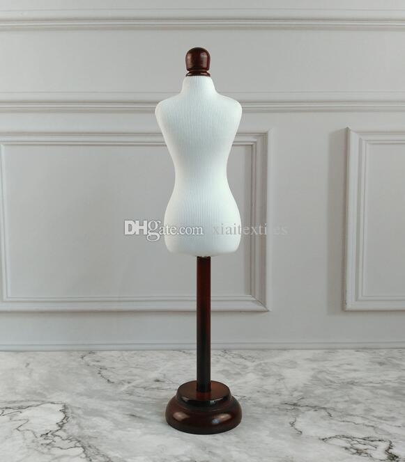 Mini 1/4Female dress form Mannequin,flexible for women clothes sewing,upper body1:4scale Jersey bust with button wooden adjustable rack B850