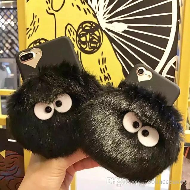 For Iphone7 Iphone 8 7 7G 6 6S Plus 3D Totoro Plush Doll Coin Soft TPU Case Bag Briquette Cartoon Cute Fur Fuzzy Zipper Love Hole Skin Cover