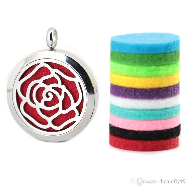 Rose fleur 30mm argent aimant aromathérapie huile essentielle chirurgicale en acier inoxydable diffuseur de parfum collier avec chaîne