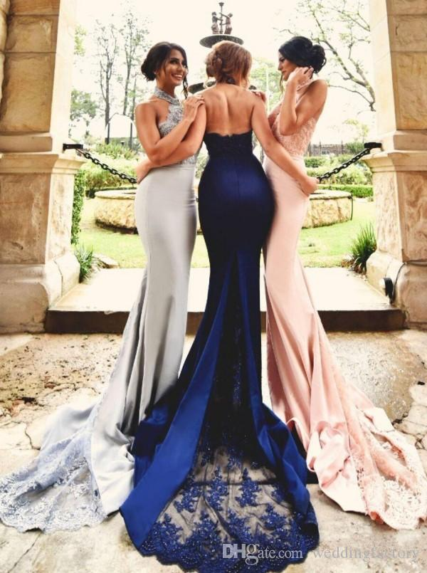 Prom Dresses Long Formal Gown Mermaid Halter Neck Open Back Lace Appliques Sheer Train Evening Party Gowns Gorgeous Bridesmaid Dress